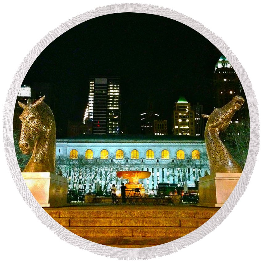 Bryant Park Round Beach Towel featuring the photograph Bryant Park Horses by Lexi Heft
