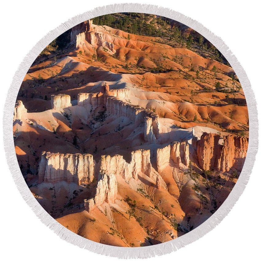 Landscape Round Beach Towel featuring the photograph Bryce Canyon From The Air by Louise Heusinkveld
