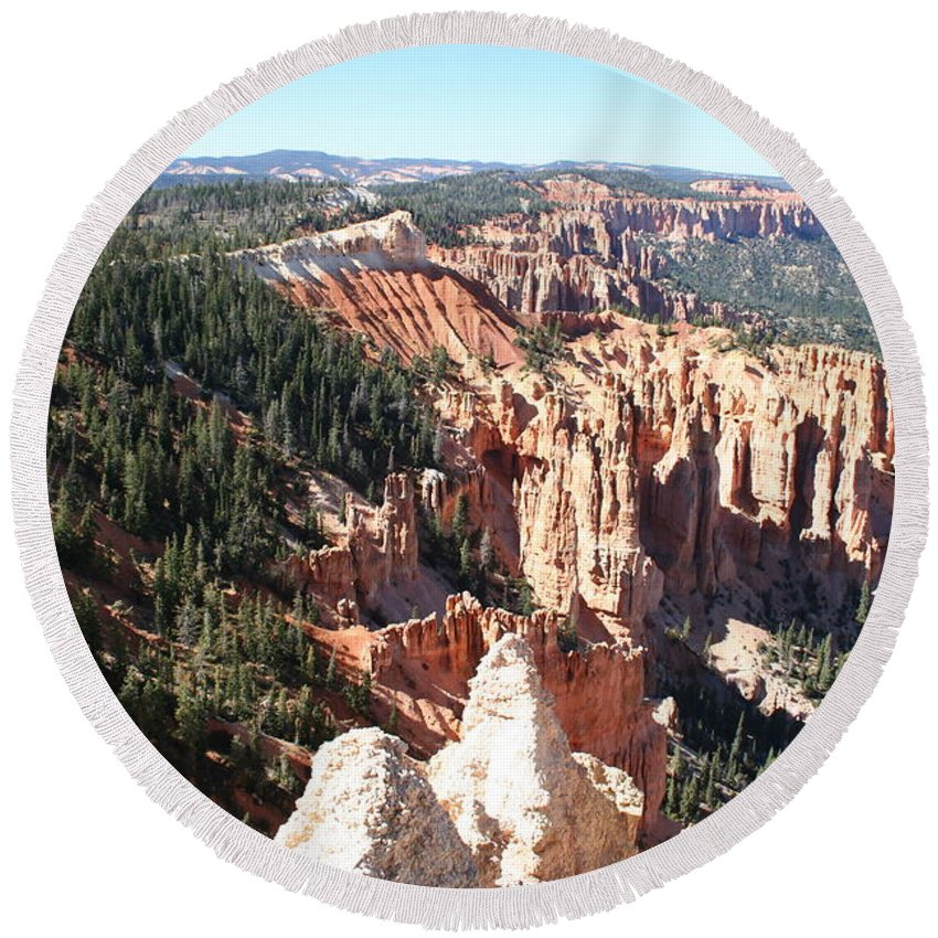 Canyon Round Beach Towel featuring the photograph Bryce Canyon Hoodoos Landscape by Christiane Schulze Art And Photography