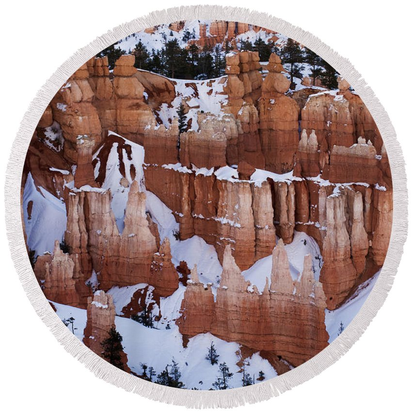 Bryce Round Beach Towel featuring the photograph Bryce Canyon In Winter 2 by Bob Christopher