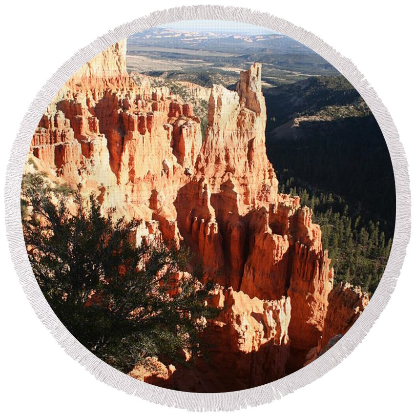 Canyon Round Beach Towel featuring the photograph Bryce Canyon Landscape by Christiane Schulze Art And Photography