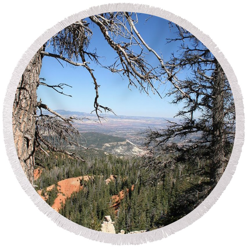 Trees Round Beach Towel featuring the photograph Bryce Canyon Overlook With Dead Trees by Christiane Schulze Art And Photography