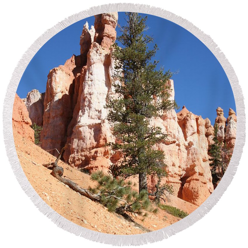 Canyon Round Beach Towel featuring the photograph Bryce Canyon Red Fins by Christiane Schulze Art And Photography