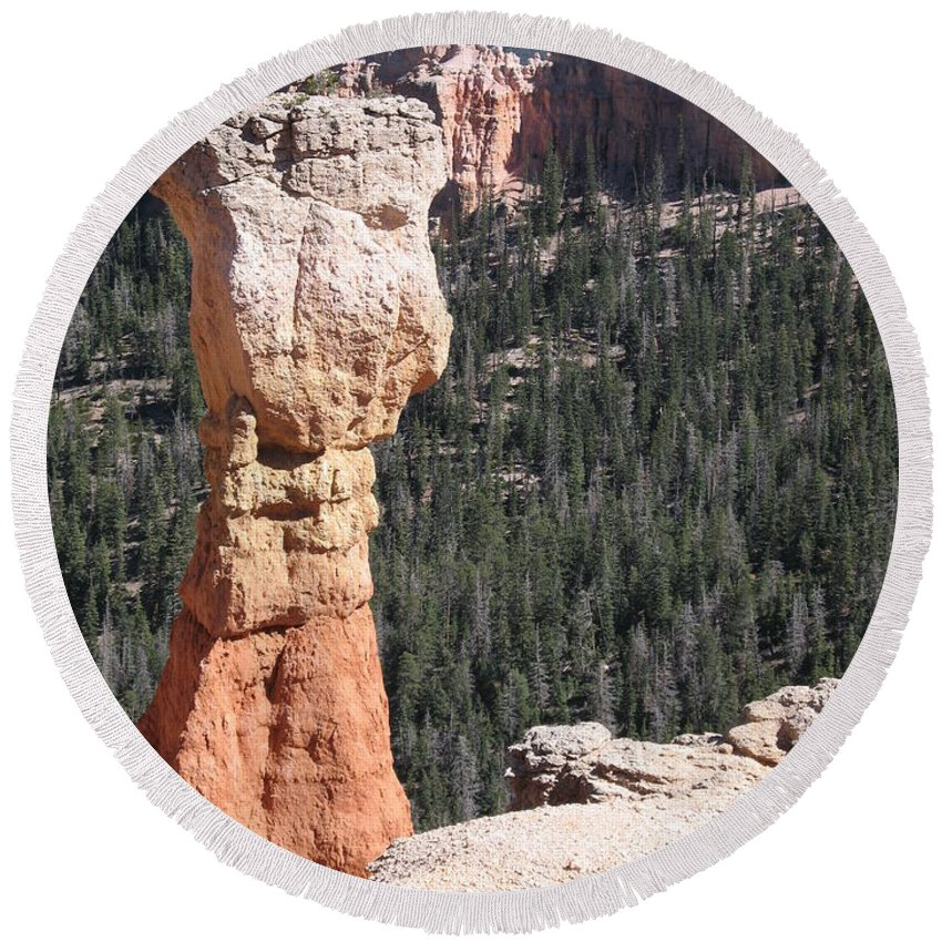 Canyon Round Beach Towel featuring the photograph Interesting Bryce Canyon Rockformation by Christiane Schulze Art And Photography