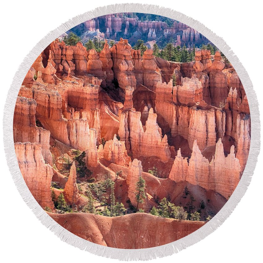 Bryce Canyon Round Beach Towel featuring the photograph Bryce Canyon Utah Views 508 by James BO Insogna