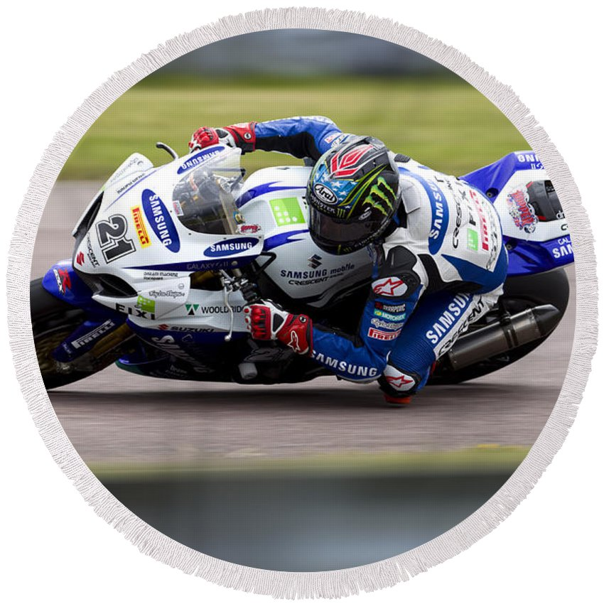 Superbike Round Beach Towel featuring the photograph Bsb Superbike Rider John Hopkins by Andrew Harker