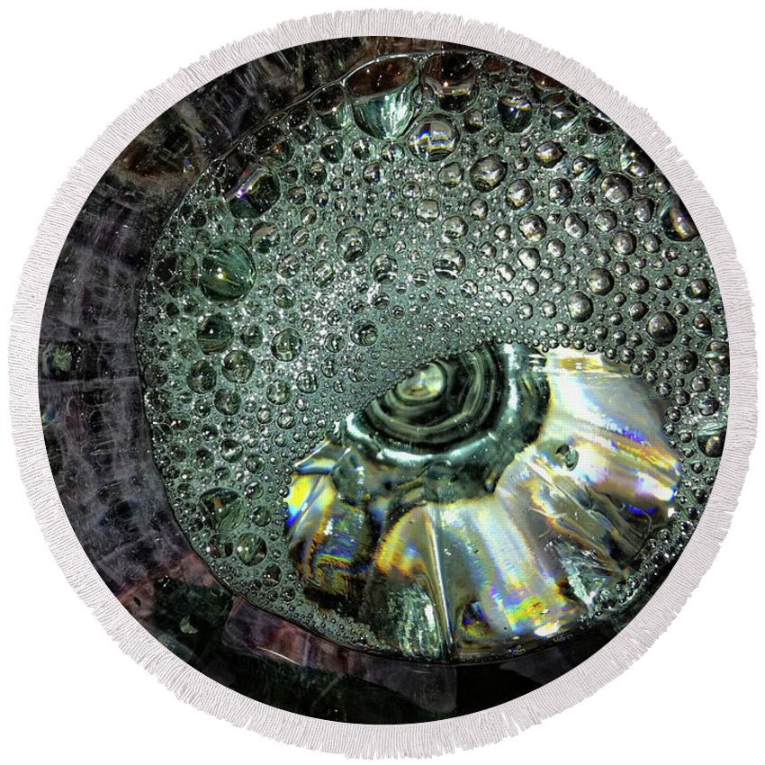 Water Round Beach Towel featuring the photograph Bubble Trouble by Donna Blackhall