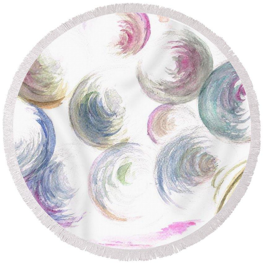 Teresa White Round Beach Towel featuring the painting Bubbles Bubbles by Teresa White