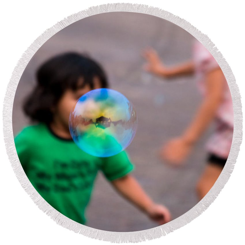 Bubbles Round Beach Towel featuring the photograph Bubbles by Gaurav Singh