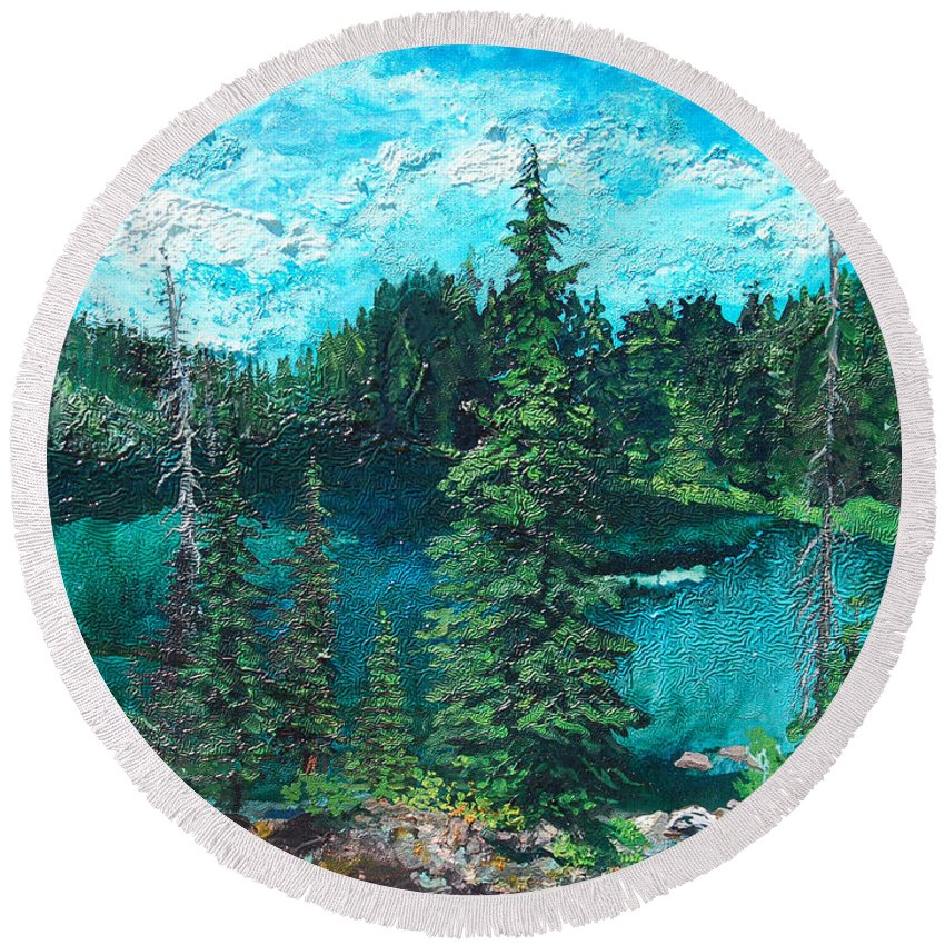 Buck Round Beach Towel featuring the painting Buck Lake by Joseph Demaree