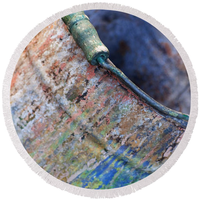 Bucket Round Beach Towel featuring the photograph Bucket Of Colors by Gwyn Newcombe