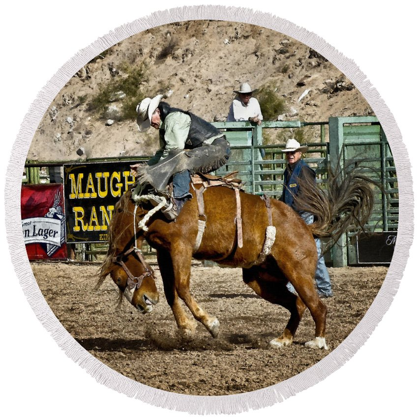 Bucking Bronco Round Beach Towel featuring the photograph Bucking Bronco At Wickenburg Senior Pro Rodeo by Priscilla Burgers
