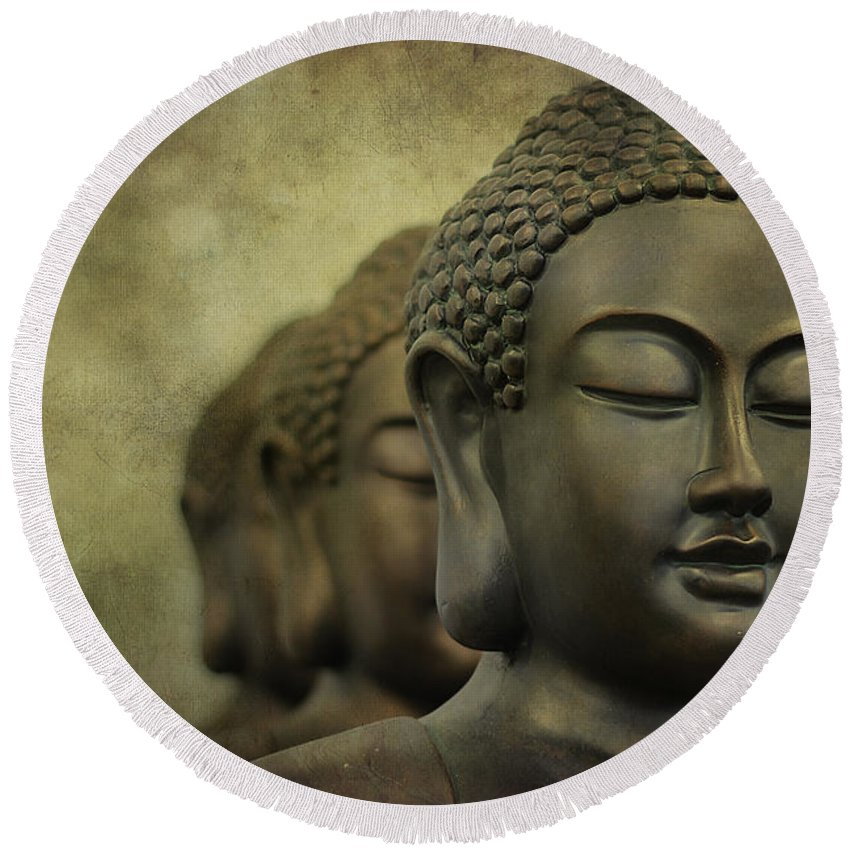 Buddha Round Beach Towel featuring the photograph Buddha Bronze by Clare Bambers