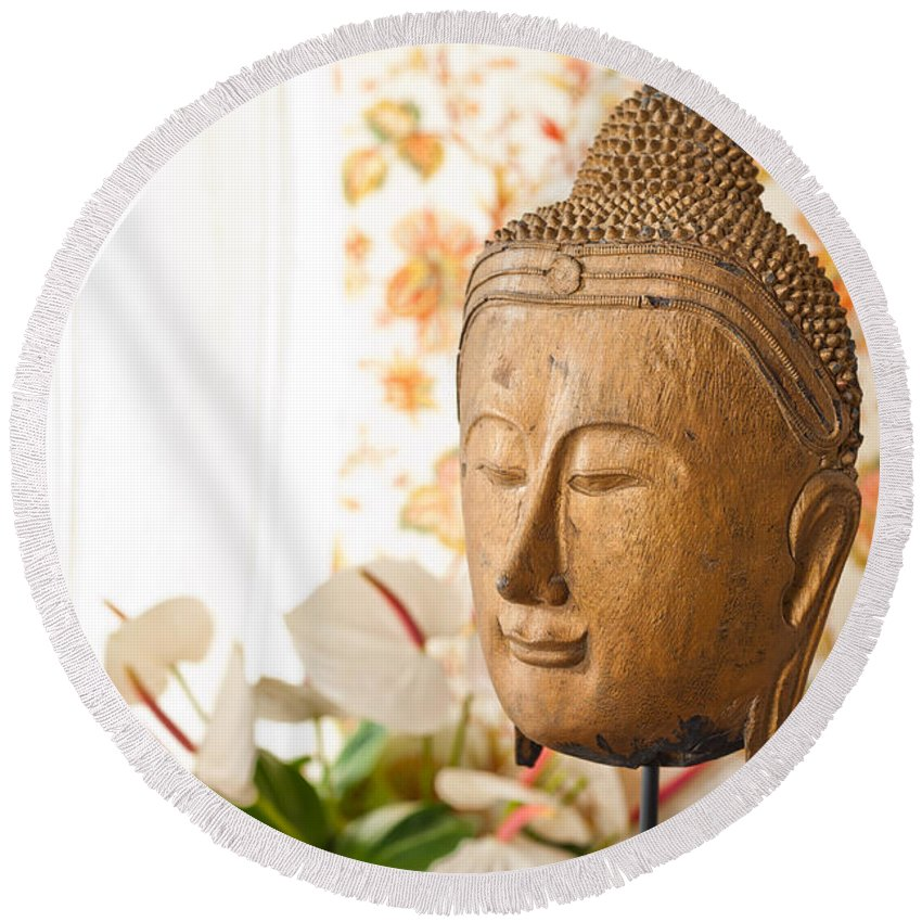 Day Round Beach Towel featuring the photograph Buddha Head by U Schade
