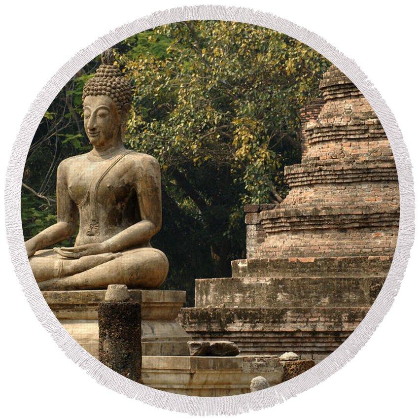 Sukhothai Round Beach Towel featuring the photograph Buddha Sukhothai Thailand 6 by Bob Christopher