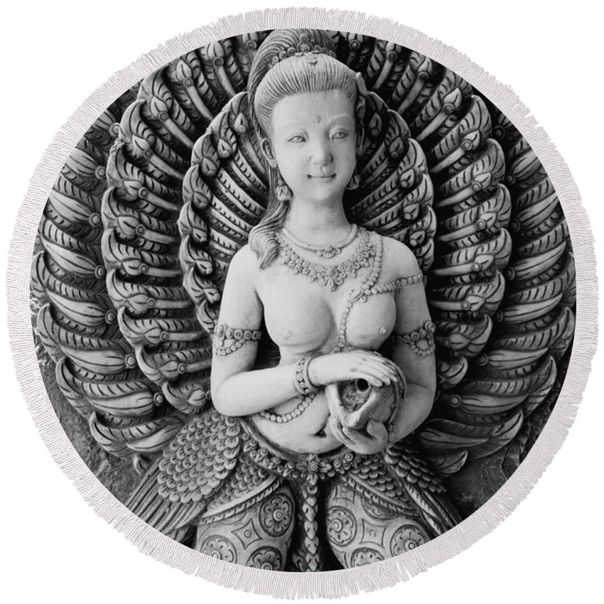Hua Round Beach Towel featuring the photograph Buddhist Carving 02 by Antony McAulay