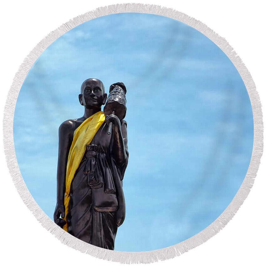 Hua Round Beach Towel featuring the photograph Buddhist Statue by Antony McAulay
