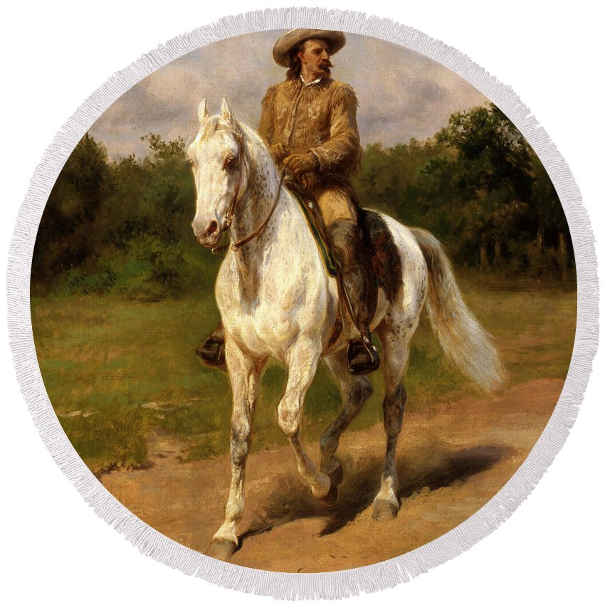 Round Beach Towel featuring the painting Buffalo Bill by Rosa Bonheur