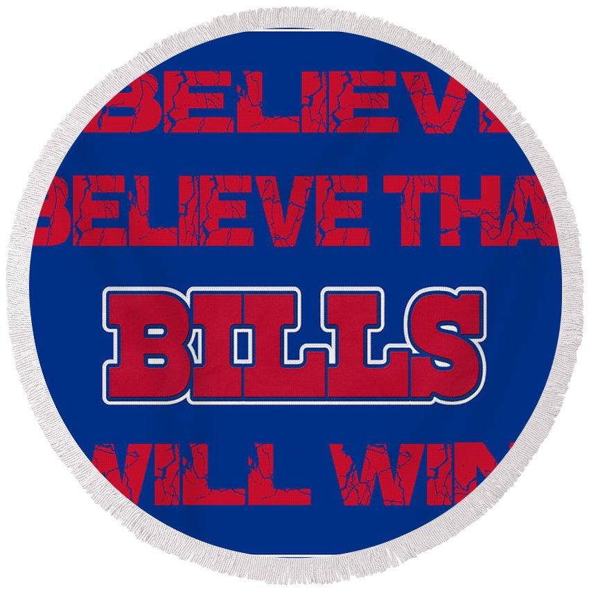 Bills Round Beach Towel featuring the photograph Buffalo Bills I Believe by Joe Hamilton