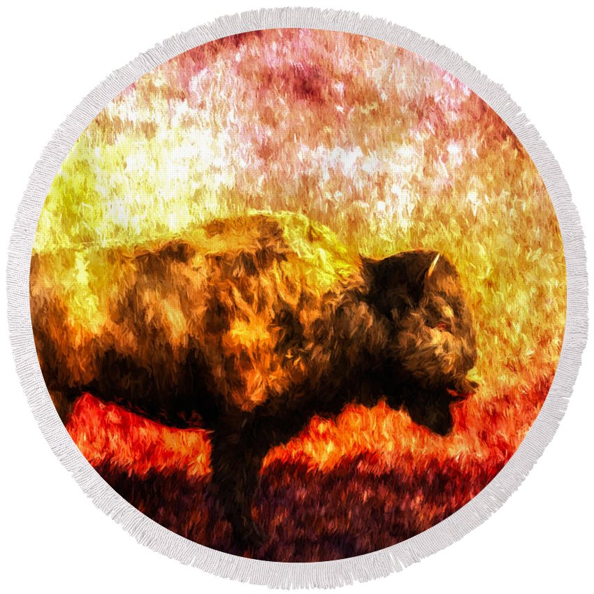 Buffalo Round Beach Towel featuring the painting Buffalo by Bob Orsillo