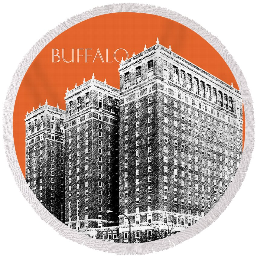 Architecture Round Beach Towel featuring the digital art Buffalo New York Skyline 2 - Coral by DB Artist
