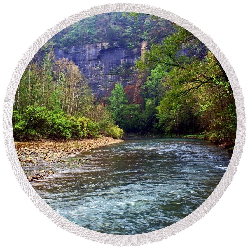 Buffalo National River Round Beach Towel featuring the photograph Buffalo River Downstream by Marty Koch