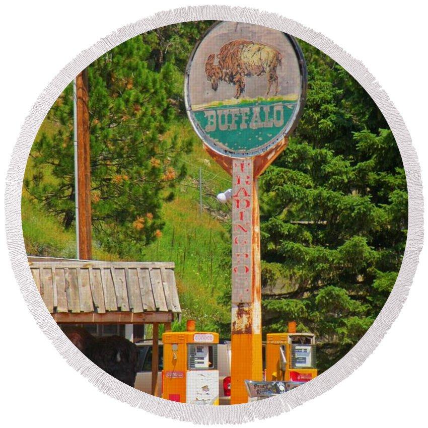 Buffalo Trading Post Round Beach Towel featuring the photograph Buffalo Trading Post by John Malone