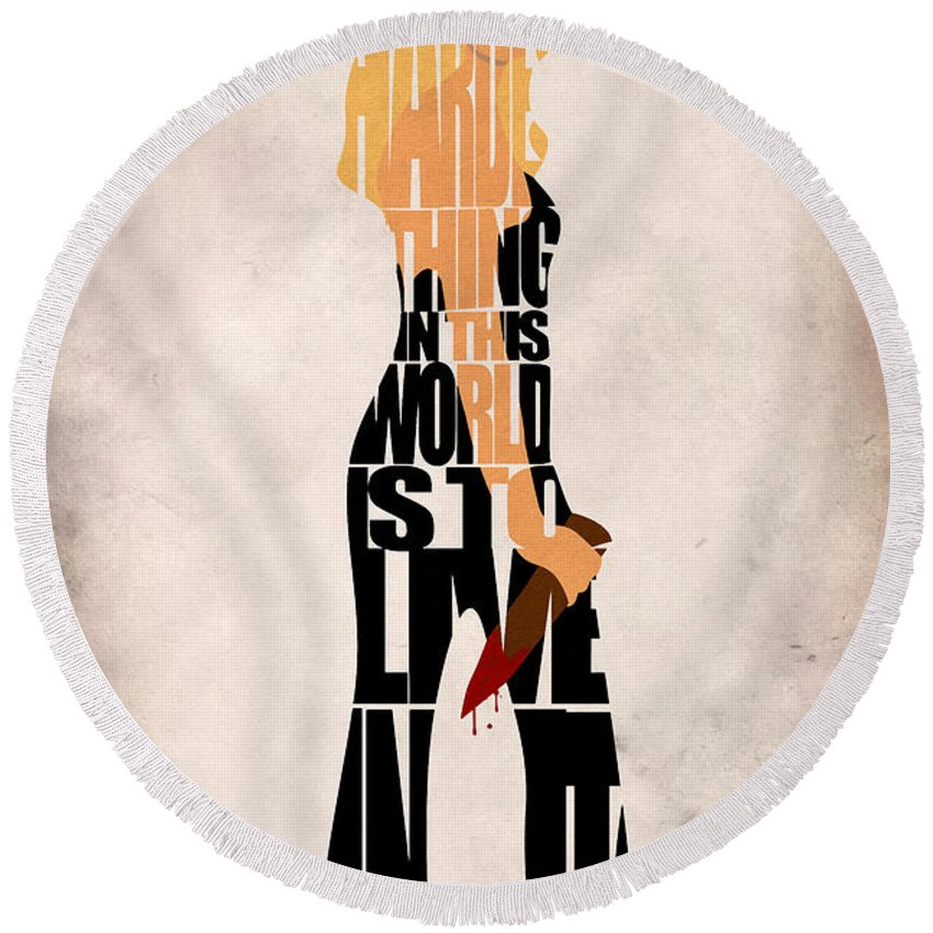 Buffy Round Beach Towel featuring the digital art Buffy The Vampire Slayer by Inspirowl Design
