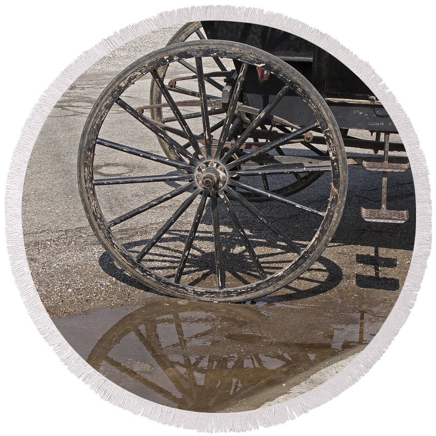 Amish Round Beach Towel featuring the photograph Buggy Wheels by Ann Horn