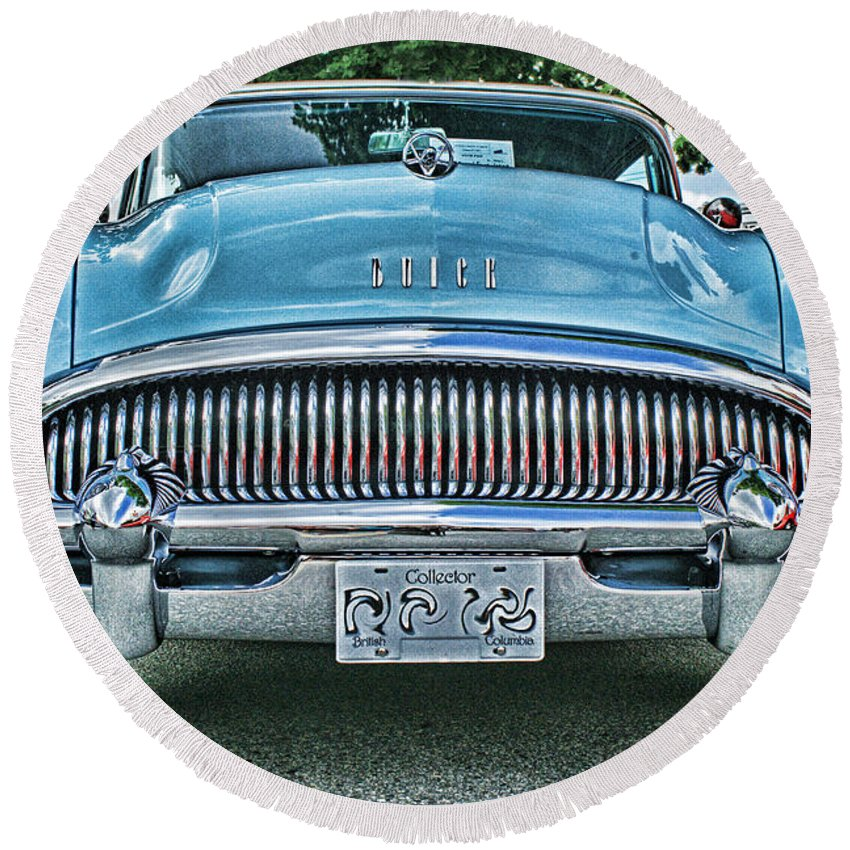 Cars Round Beach Towel featuring the photograph Buick Grills-hdr by Randy Harris