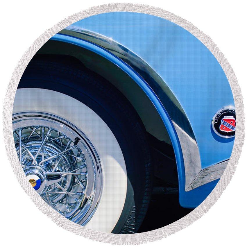 Buick Skylark Wheel Emblem Round Beach Towel featuring the photograph Buick Skylard Wheel Emblem by Jill Reger