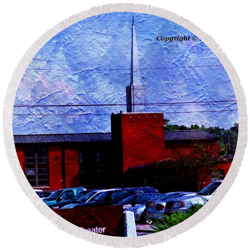 Buildings Round Beach Towel featuring the photograph Building As A Painting by Karl Rose