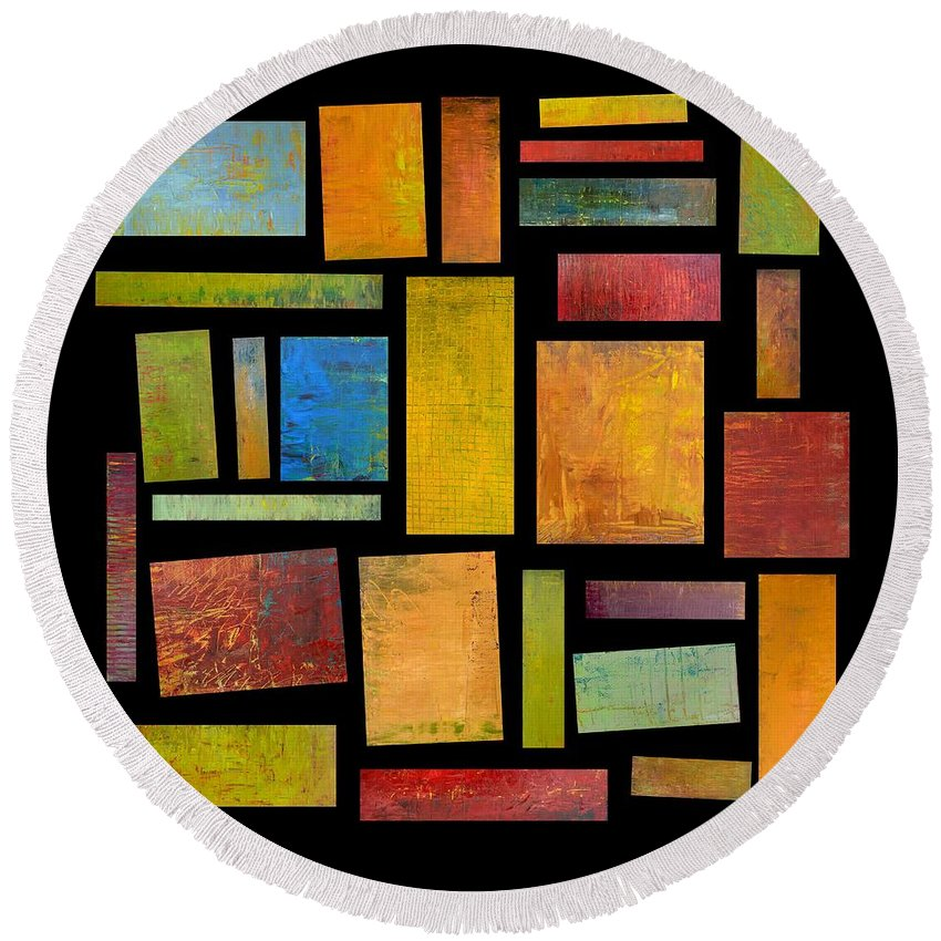 Textural Round Beach Towel featuring the painting Building Blocks Four by Michelle Calkins