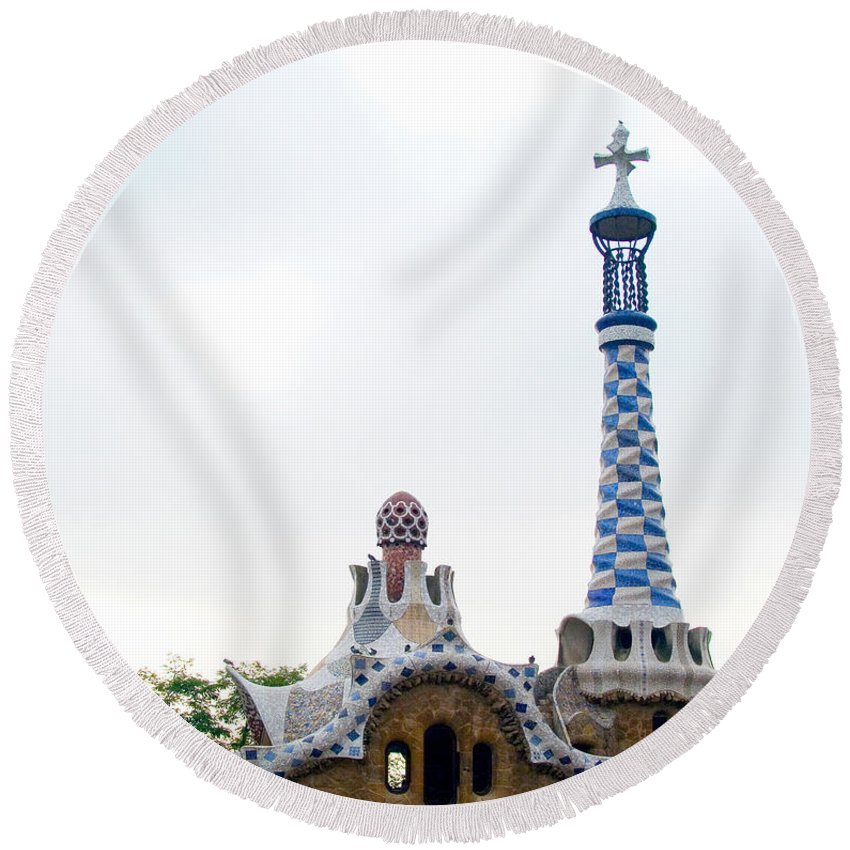 Spire Round Beach Towel featuring the photograph Building By Antoni Gaudi by Tim Holt
