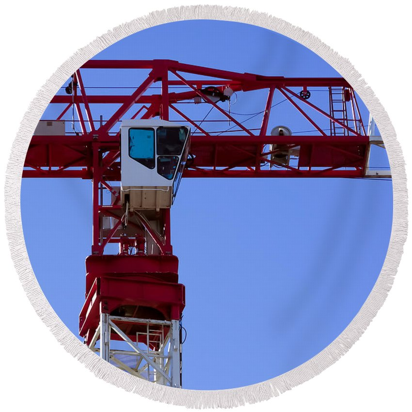 Crane Round Beach Towel featuring the photograph Building Crane by Robert VanDerWal