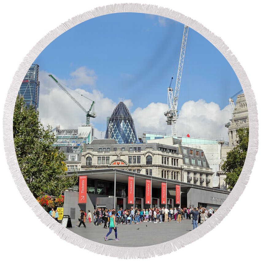 Building Work In The City Of London Round Beach Towel featuring the photograph Building Work In The City Of London by Julia Gavin