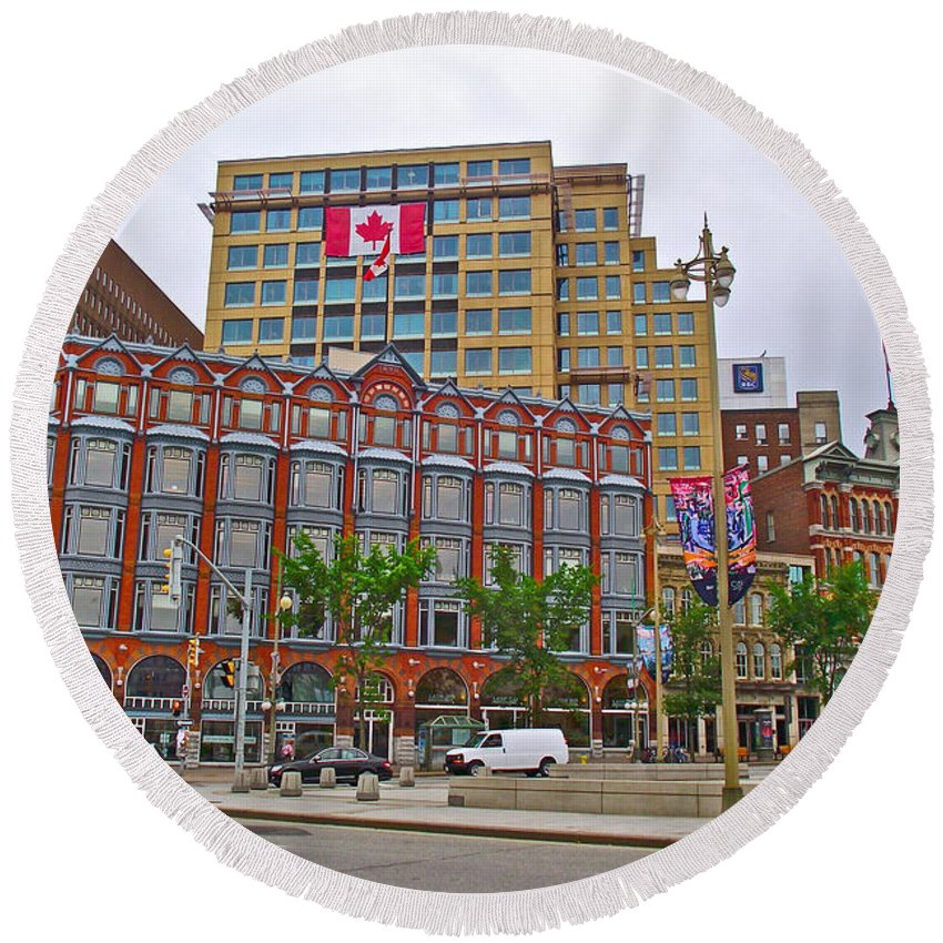 Buildings Near War Memoriall In Ottawa-on Round Beach Towel featuring the photograph Buildings Near War Memoriall In Ottawa-on by Ruth Hager