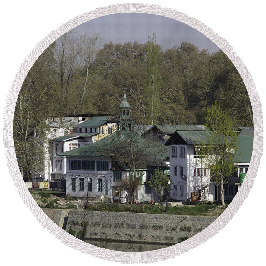 Building Round Beach Towel featuring the photograph Buildings On The Shore Of Section Of Dal Lake In Srinagar by Ashish Agarwal
