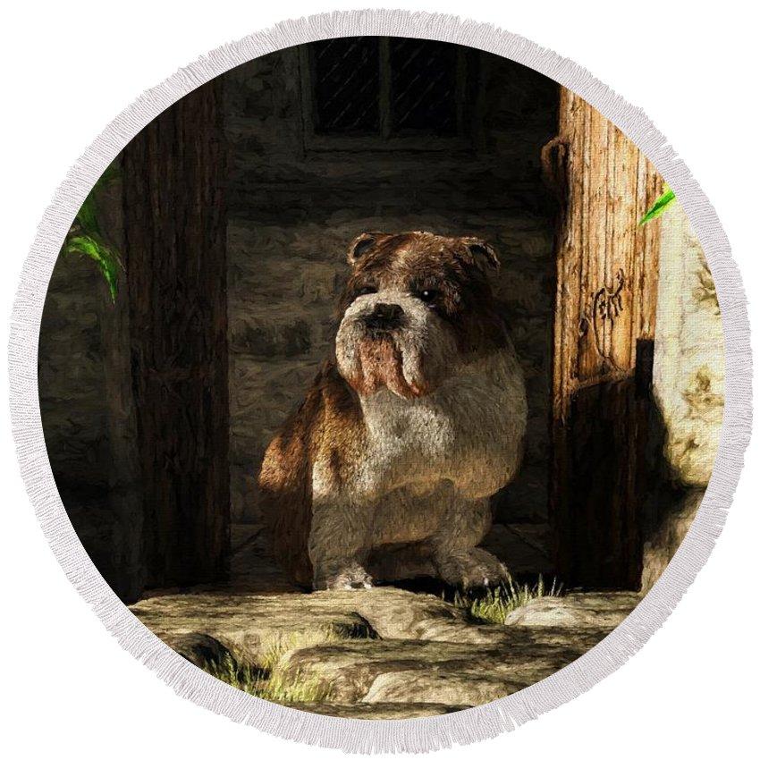 Bulldog Round Beach Towel featuring the digital art Bulldog In A Doorway by Daniel Eskridge