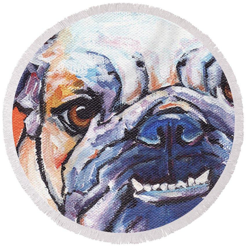 Bulldog Round Beach Towel featuring the painting Bulldog by Greg and Linda Halom