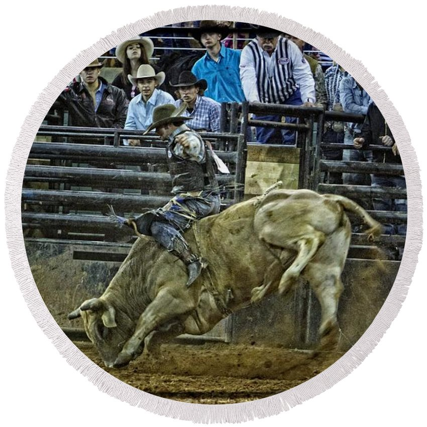 Bullriding Round Beach Towel featuring the photograph Bullriding Mania by Alice Gipson