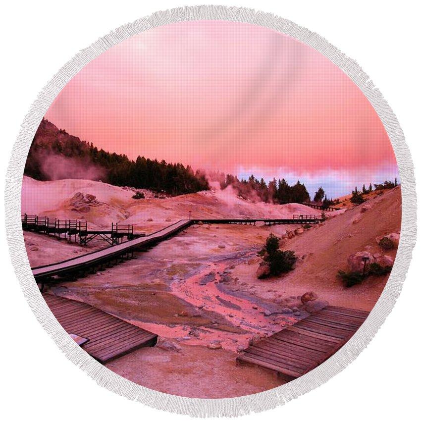 Bumpass Hell Round Beach Towel featuring the photograph Bumpass Hell Sunset by Adam Jewell