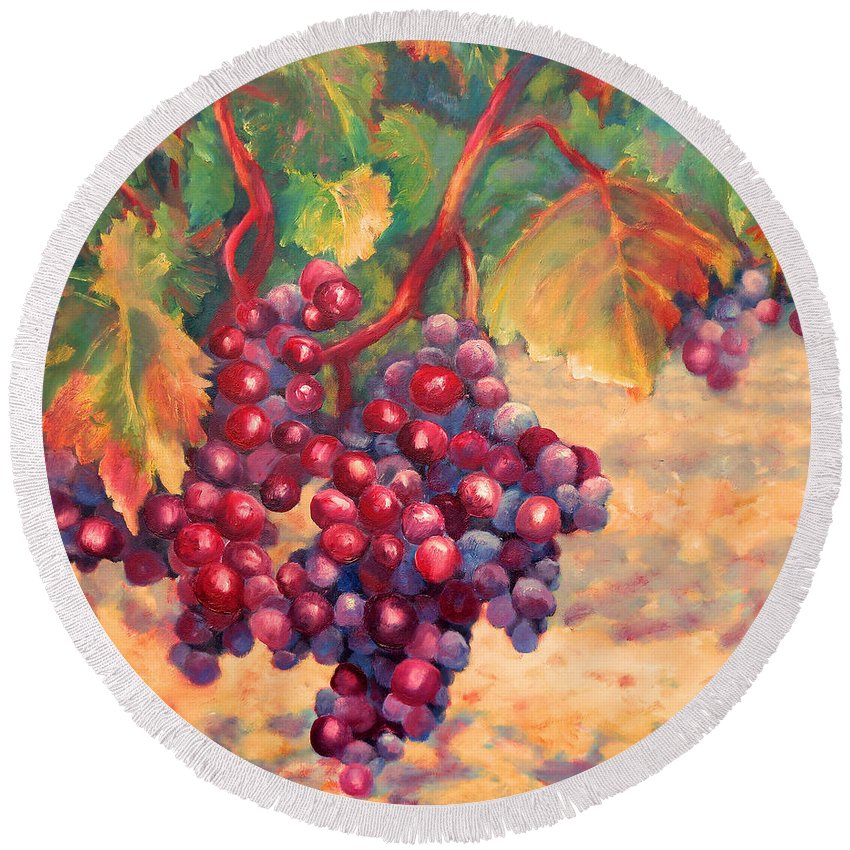 Grape Round Beach Towel featuring the painting Bunch Of Grapes by Carolyn Jarvis