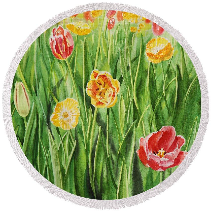 Tulip Round Beach Towel featuring the painting Bunch Of Tulips II by Irina Sztukowski