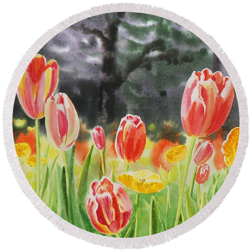 Tulip Round Beach Towel featuring the painting Bunch Of Tulips IIi by Irina Sztukowski