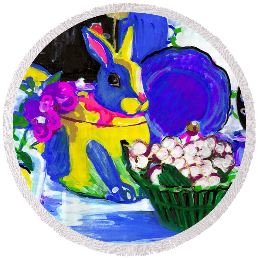 Bunny Round Beach Towel featuring the painting Bunla 2 by Candace Lovely