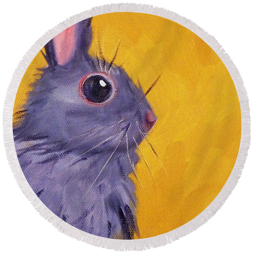 Rabbit Paintings Round Beach Towels