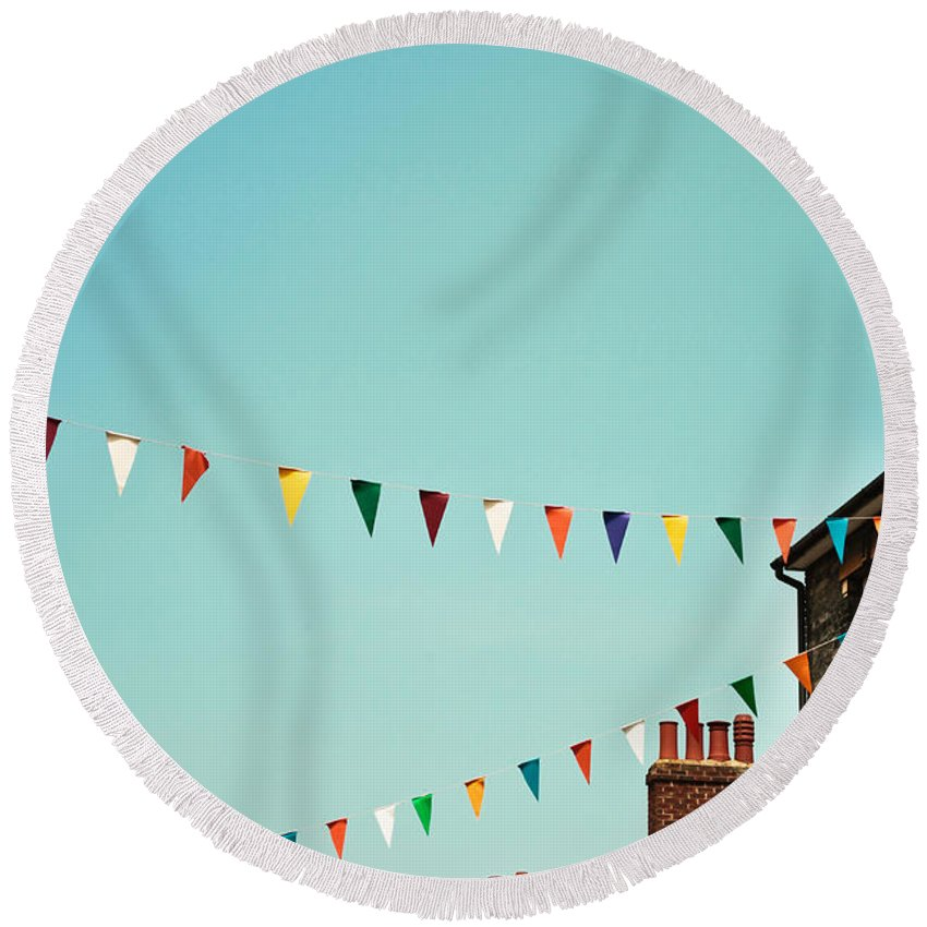 Blue Round Beach Towel featuring the photograph Bunting by Tom Gowanlock