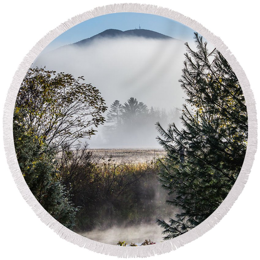 Landscape Round Beach Towel featuring the photograph Burke Above The Fog by Tim Kirchoff