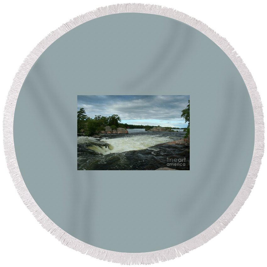 Landscape Round Beach Towel featuring the photograph Burleigh Falls by Barbara McMahon